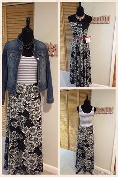 I love how versatile the maxi skirt is! How fun are these outfits? Shop with me at LuLaRoe Wendy Preslan VIP
