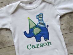 Personalized Boy's Elephant Birthday Shirt or Onesie- 1st Birthday Elephant Onesie- Toddler Elephant Tee- Custom Children's Clothing