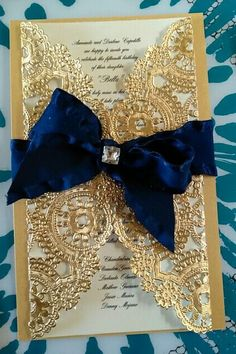 """Wrapped Quinceanera invitation using 10"""" Gold Doily.  Submitted by Anita M."""