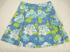 Skirt 10P A Line Floral STRETCH Blue Green White ST JOHNS Bay Cruise Resort #StJohnsBay #ALine