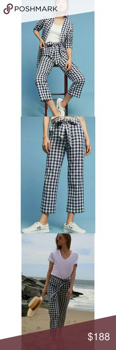NWT, Anthropologie Gingham Cropped Pants Brittany Correy founded The Lady & The Sailor to fill a void in her own wardrobe, which lacked pieces that were effortless enough for travel, yet stylish enough to be worn anywhere in the world. Designed, sourced and crafted entirely within the United States, each silhouette is equally refined and effortless, and distinguished by the witty addition of statement touches to timeless styles. An all-over gingham print makes an of-the-moment pair…