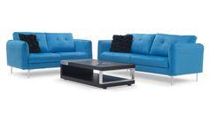 Skyler 2 + 3 Blue Fabric Sofa Set   Zuri Furniture