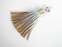 Leather Tassel Key Chain Ombre Tassel Fringe Bag by SmArtAnna