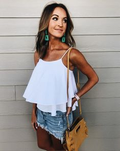 casual summer white layered tank + distressed shorts ootd