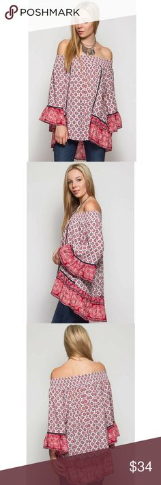 Bohemian Paisley Print Off Shoulder Tunic 3/4 Sleeve bohemian paisley print off the shoulder tunic top with crochet contrast accent. She and Sky Tops Tunics