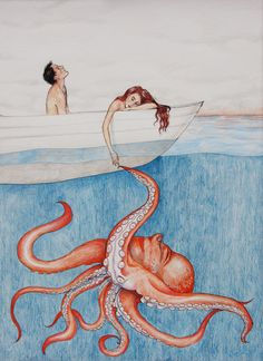 Octopus Pen and Colored Pencil Drawing, a Quirky Framed Piece that's ready to hang. $250.00, via Etsy.