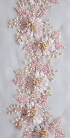 Ribbon Embroidery Patterns Hand-embroidered trim with pink raffia flowers and drop-shaped pearls Hand Work Embroidery, Hand Embroidery Stitches, Silk Ribbon Embroidery, Hand Embroidery Designs, Beaded Embroidery, Embroidery Patterns, Embroidery Supplies, Zardozi Embroidery, Embroidery Tattoo