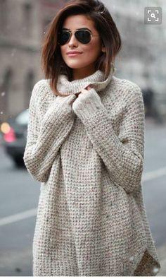 664270b3d0 Beige light grey waffle sweater with aviator sunglasses. Stitch · Oversized  Sweater DressChunky Knit ...