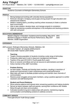 Combination Resume Example for a Guidance Counselor
