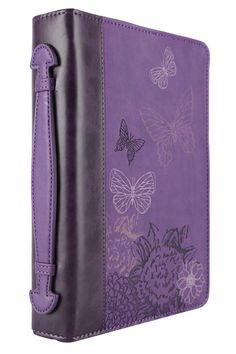 Christian Art, Butterflies Bible Cover, Leather-like, Purple