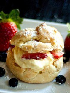 Cream Puffs with Custard & Fruit Filling