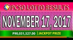 PCSO Lotto Results November 17, 2017 (6/58, 6/45, 4D, SWERTRES & EZ2 LOTTO) Lotto Results, Youtube, December 17, Youtubers, Youtube Movies