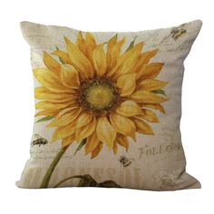 Aliexpress.com : Buy Cotton Linen Pillowcase Printed Sunflower Flower Cushion Cover Sofa Pillow Cases 45cm Square from Reliable pillow case fabric suppliers on Handicraftsman