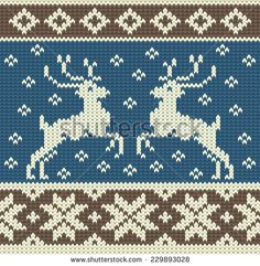 Cute knitting background with two reindeers and snowflakes - stock vector Fair Isle Knitting Patterns, Knitting Charts, Knitting Stitches, Knitting Designs, Knitting Projects, Sewing Patterns, Crochet Patterns, Christmas Fair Ideas, Christmas Charts