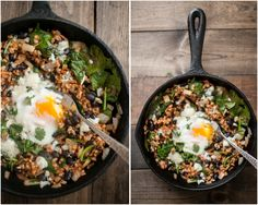 Spinach: Chipotle Black Bean, Rice and Egg Skillet. Things I might not have on hand: chipotle powder, cilantro, goat cheese, eggs, avocado