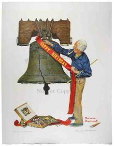 """Norman Rockwell """"Happy Birthday Liberty Bell"""" got my finger stuck in the Liberty Bell as a 12 year old. Norman Rockwell Prints, Norman Rockwell Paintings, Caricatures, Saturday Evening Post, Arte Pop, God Bless America, Illustrations, Limited Edition Prints, American Artists"""