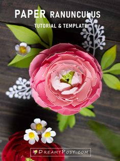 Cardstock Ranunculus flower, step by step tutorial and template Paper Flowers Diy, Handmade Flowers, Flower Crafts, Large Flowers, Real Flowers, Paper Crafts, Diy Crafts, Paper Art, Flower Step By Step