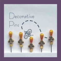 Decorative Bee Pins - Quilting and Scrapbooking Pins - Pincushion Charmers
