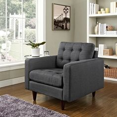 - Empress Upholstered Armchair in Gray
