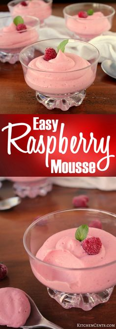 Easy Raspberry Mousse | Kitchen Cents   This pretty pink Raspberry Mousse is filled with creamy, smooth raspberry flavors and only takes 4 ingredients. A perfect treat for Valentine's Day!