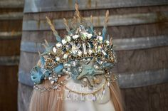 Mermaid crown - aqua - shell crown - siren - photoshoot - pageant - runway…