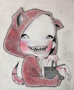 Le non dit - #color #pencilonpaper #illustration #redridinghood #teeth #children #wolf #illustrazione #lupo #colorpencil #tale #red