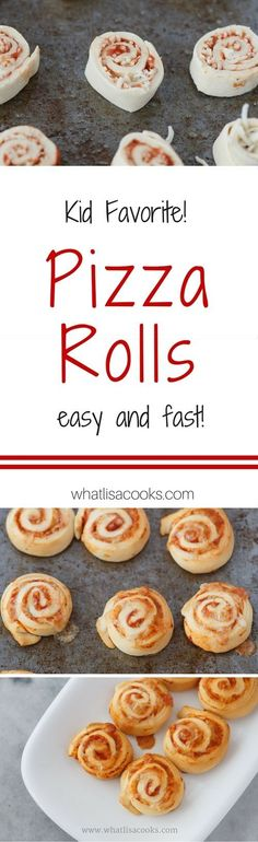 Pizza Rolls - on the table in 20 minutes. a crowd pleasing dinner or lunch recipe! These freeze great and are great for school lunch packing. http://whatlisacooks.com