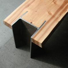 cedar slab i-beam bench