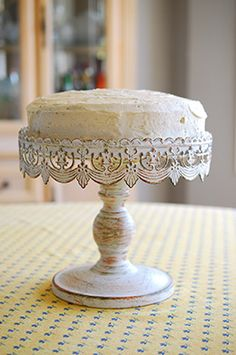 21.98 SALE PRICE! Inspired by French flea market finds, this bestselling cake stand features metal embossed lace trim for a vintage or Victorian inspired the...