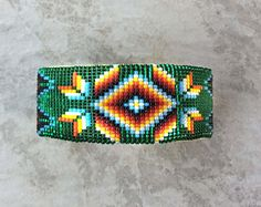 Native American Cuff Bracelet, Beaded Navajo Cuff Bracelet by AndTheCrow Beaded Hat Bands, Beaded Cuff Bracelet, Bead Loom Bracelets, Beaded Jewelry, Cuff Bracelets, Native Beading Patterns, Native Beadwork, Loom Bracelet Patterns, Bead Loom Patterns