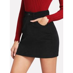 SheIn(sheinside) Zip Up Pockets Front Corduroy Skirt ($14) ❤ liked on Polyvore featuring skirts, black, short skirt, pocket skirt, button skirt, above the knee skirts and stretchy skirts
