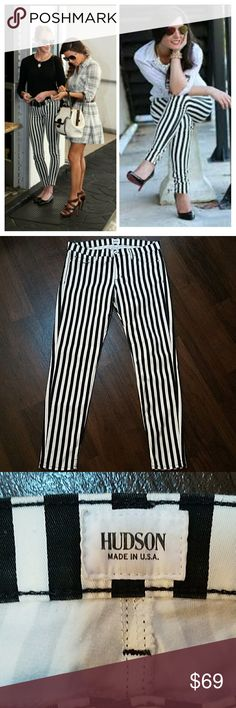 "Hudson ""Krista"" super skinny stripped jeans 32X30 Hudson ""Krista"" super skinny stripped jeans 32X30 Black and white stripes  Rise: 9 1/2"" 93% COTTON,  5% polyester,  2% lycra RN#107906 STYLE#W407WAP Hudson Jeans Jeans Skinny"