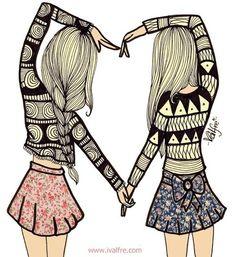tumblr+best+friend+pictures | art, best friends, floral print, friend, friends - inspiring picture ...