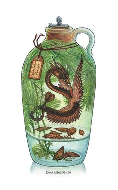"""""""Spade-Tailed Pipewyrm"""" 8×10 inches, watercolor and ink Original Artwork for Sale Prints for Sale The """"Spade-Tailed Pipewyrm"""" isn't the strangest thing about the bottle&#8217…"""