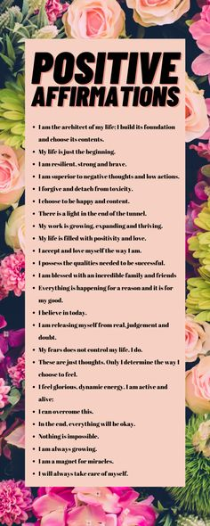 """24 Positive Affirmations to add to attract positivity in your life. Positive Affirmations are proven methods of self-improvement because of their ability to rewire our brains. Much like exercise, they raise the level of feel-good hormones and push our brains to form new clusters of """"positive thought"""" neurons. #mentalhealth #positiveaffirmations #positivity #affirmations #journal #journalprompts Negative Self Talk, Negative Thoughts, Good Thoughts, Positive Thoughts, Positive Quotes, Journal Writing Prompts, What Is Positive, Take Care Of Me, Good Mental Health"""
