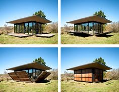 This tiny modern cabin of just 500 square feet was designed by Olson Kundig Architects, located on False Bay, San Juan Islands in northwest Washington State. Bungalow, Moving Walls, Casas Containers, Cabins In The Woods, Little Houses, Small Houses, Small Spaces, House Plans, Cabin Plans