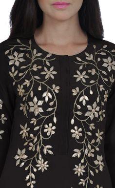 Black Hand Embroidered Gota Patti Pure Crepe Kurta