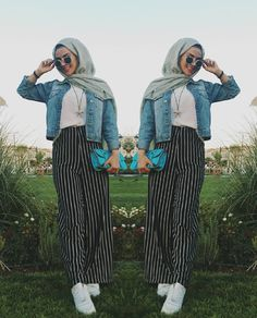 striped palazzo pants-How to wear stripes with hijab – Just Trendy Girls Hijab Chic, Hijab Style, Casual Hijab Outfit, Islamic Fashion, Muslim Fashion, Modest Fashion, Fashion Outfits, Modest Dresses, Modest Outfits