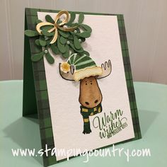 by Robin: Jolly Friends, Tin of Tags set, Warmth & Cheer dsp stack, Pretty Pines Thinlits, Jolly Hat Punch - all from Stampin' Up! Stampin Up Christmas, Christmas Cards To Make, Xmas Cards, Christmas Greetings, Handmade Christmas, Holiday Cards, Christmas Hat, Christmas 2016, Christmas Challenge