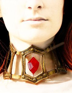 MADE TO ORDER - Melisandre red gold necklace jewelry choker cosplay game of throne costume renaissance larp gothic vampire fantasy