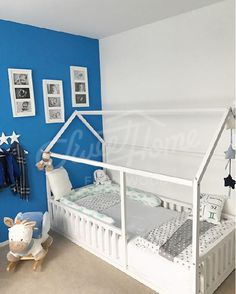 White And Blue Kids Room Toddler Bed Twin Size Baby Children