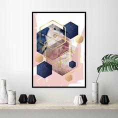 Home Decoration For Living Room Code: 9414155243 Navy Living Rooms, My Living Room, Living Room Wall Art, Art Deco Interior Living Room, Blue And Pink Living Room, Living Room Color Schemes, Living Room Designs, Blush Rosa, Gold Walls