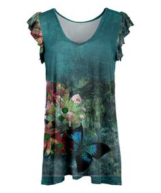 Another great find on #zulily! Teal Butterfly Ruffle Cap-Sleeve Tunic - Plus Too #zulilyfinds
