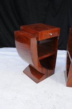 Pair Art Deco Bedside Tables Nightsands Bedroom Furniture | eBay