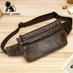 fb6953cf11b6 LAOSHIZI LUOSEN New Men Waist Bag For Phone Genuine Leather Casual Small  Men s Bag Purse Fanny