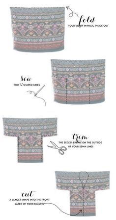 """""""DIY kimono from a scarf tutorial. i didnt care for the outfit ideas, just the picture of how to sew the kimono."""", """"DIY Fringed Kimono - such Sewing Hacks, Sewing Tutorials, Sewing Patterns, Sewing Tips, Fabric Crafts, Sewing Crafts, Sewing Projects, Diy Clothing, Sewing Clothes"""