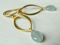 Sona Marquis Earrings with Aquamarine by FlowDesigns on Etsy, $32.00