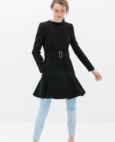 COAT WITH RUFFLED HEM from Zara