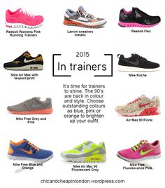 Running Shoes - How to style them. Read everything about the 2015 trends. Outfit inspiration - trainers #chicandcheap #fashionblog, Tariners 2015 infographic