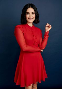 Lucy Hale Photoshoot, Estilo Lucy Hale, Lucy Hale Style, Betty & Veronica, Pretty Little Liars, Ideias Fashion, Cold Shoulder Dress, High Neck Dress, Celebrities